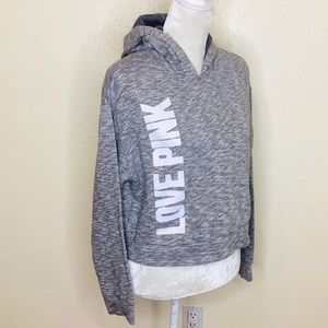 PINK VS Gray Hooded Cropped Sweater